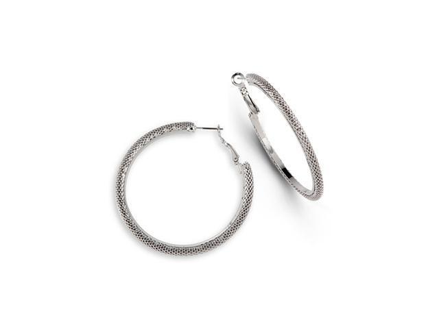Chain Link Silver Tone Round Big Fashion Hoop Earrings