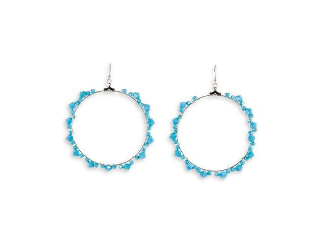 Turquoise Color Stone Silver Tone Round Dangle Earrings