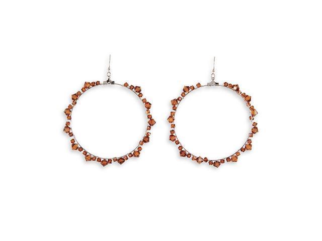 Smoky Topaz Color Stone Silver Tone Dangle Earrings