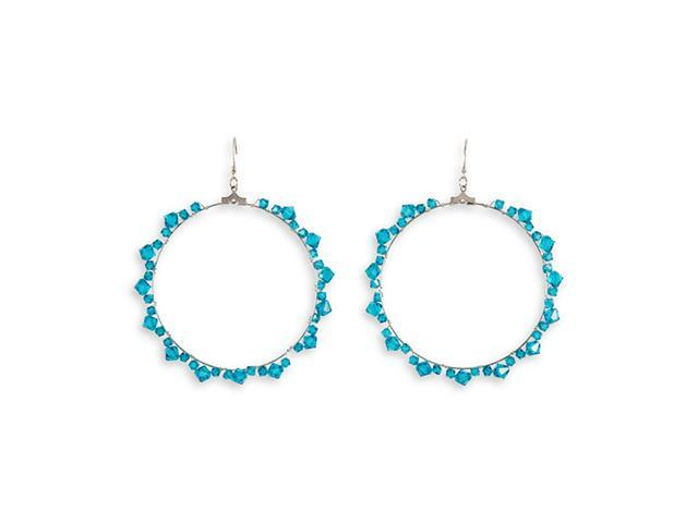 Teal Color Crystal Silver Tone Round Circle Earring