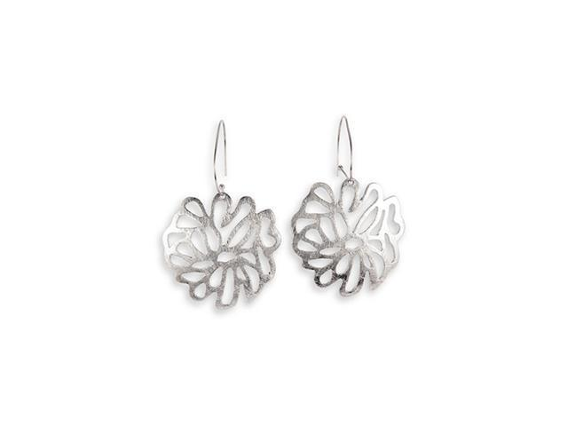 Polished Silver Tone Cutout Flower Big Dangle Earrings