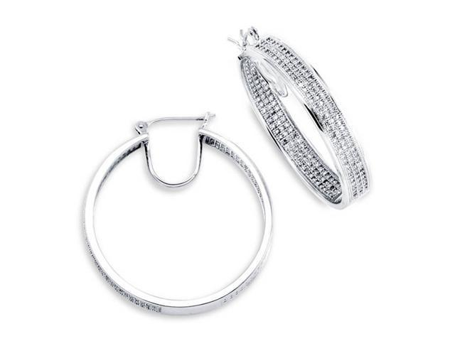 14K White Gold Hoops In Out Round Diamond Earrings