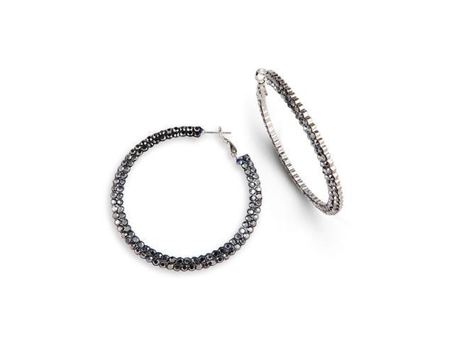 Grey Crystal Silver Tone Polished Round Hoop Earrings