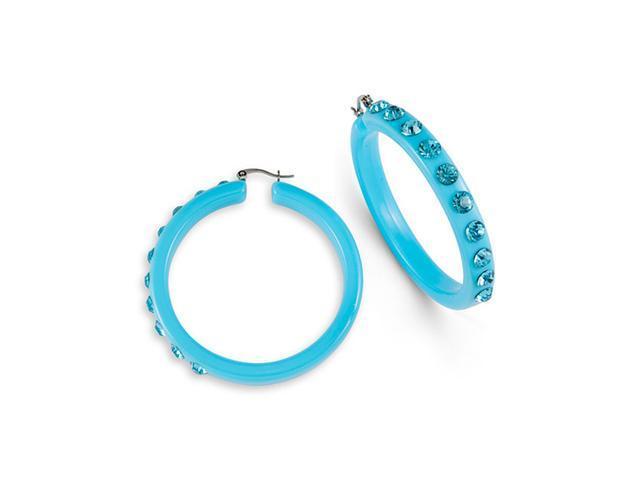 Aquamarine Swarovski Crystal Hoop Light Blue Earrings