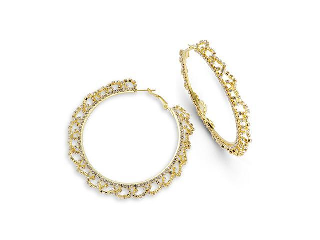 White CZ Gold Tone Fashion Solid Polished Hoop Earrings