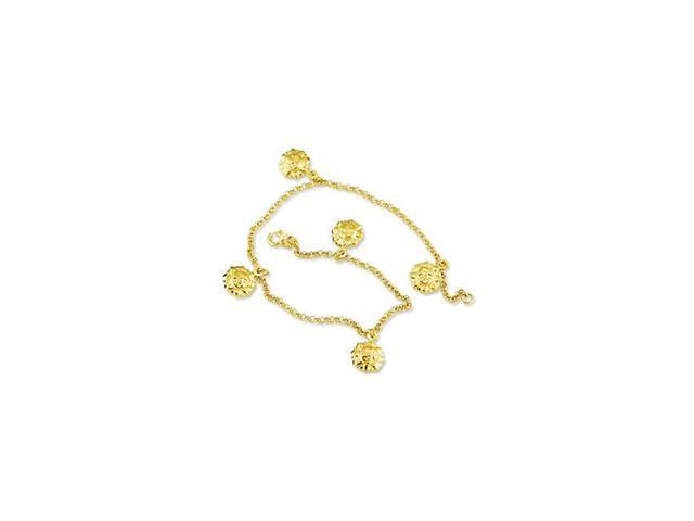 14k Yellow Gold Sun Charms Rolo Chain Ankle Bracelet