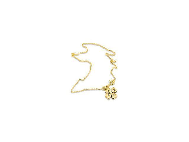 14k Yellow Gold Lucky Four Leaf Clover Shamrock Anklet
