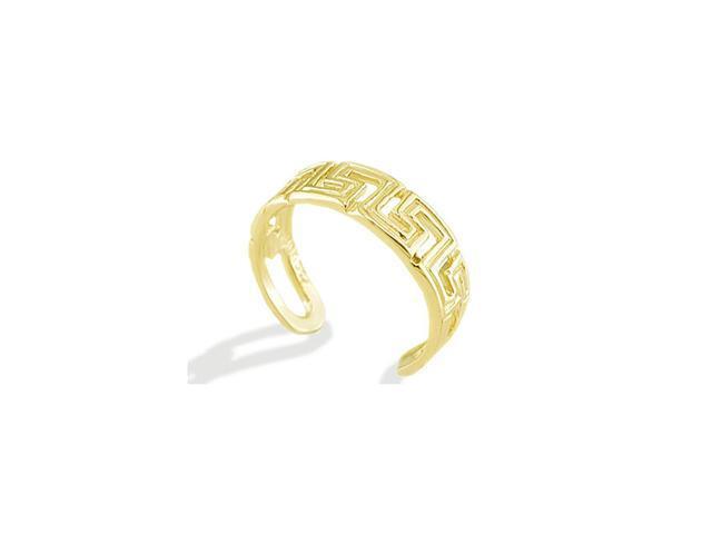 14k Yellow Gold Polished Cutout Greek Key Band Toe Ring