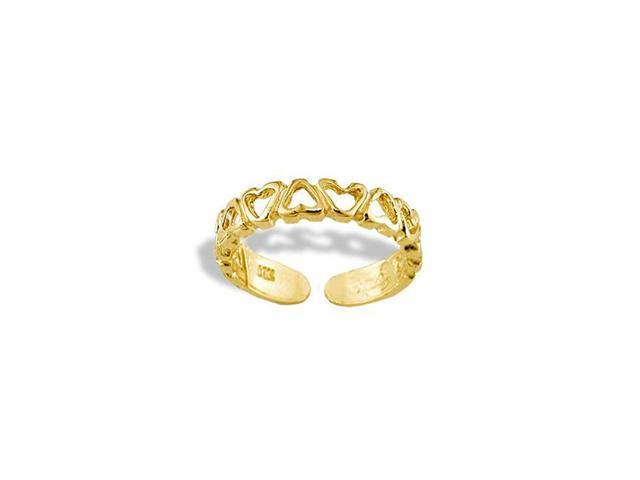 14k Yellow Gold Solid Cutout Heart Love Band Toe Ring
