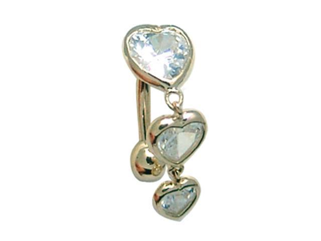 14k Yellow Gold CZ Triple Dangling Hearts Navel Ring