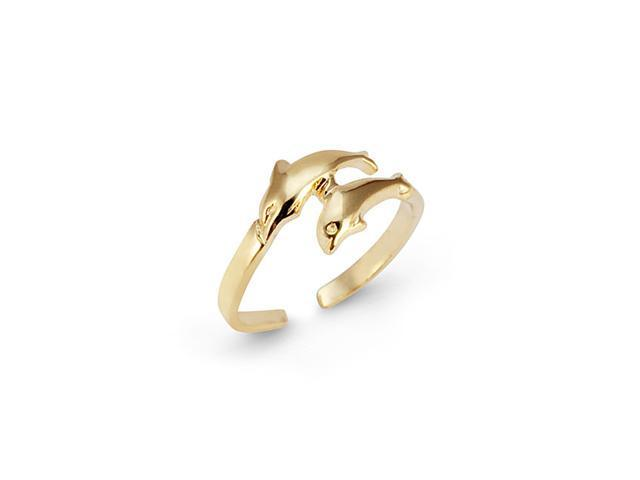 Solid New 14k Yellow Gold Dolphin Jewelry Toe Ring