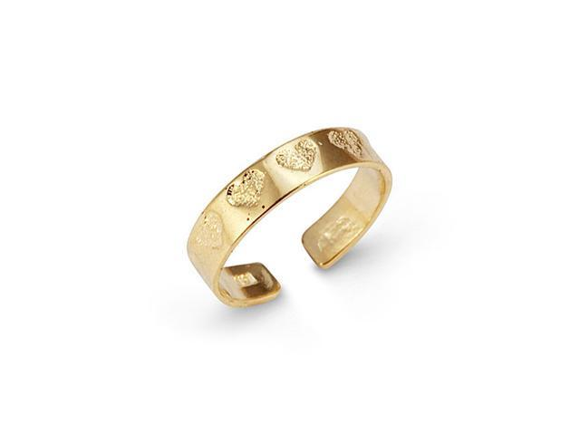 Solid 14k Yellow Gold Circle Of Love Heart Toe Ring