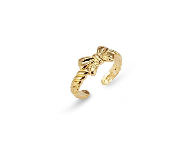 Solid 14k Yellow Gold Ribbon Bow Scallop Toe Ring