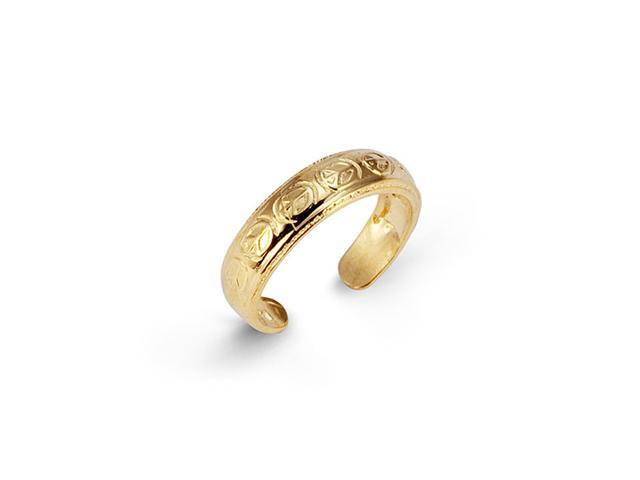 Unique Solid New 14k Yellow Gold Peace Sign Toe Ring