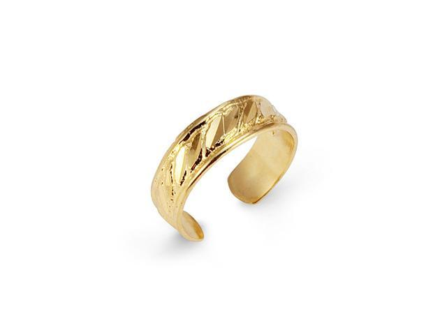 14k Yellow Gold Faceted Milgrain Body Jewelry Toe Ring