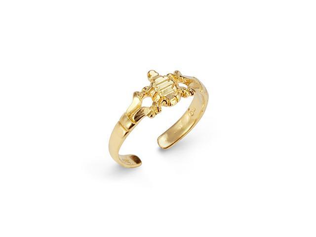 Solid 14k Yellow Gold Turtle Foot Jewelry Toe Ring