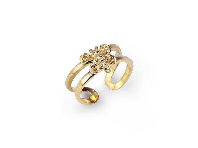 New Solid 14k Yellow Gold Butterfly Bar Toe Ring
