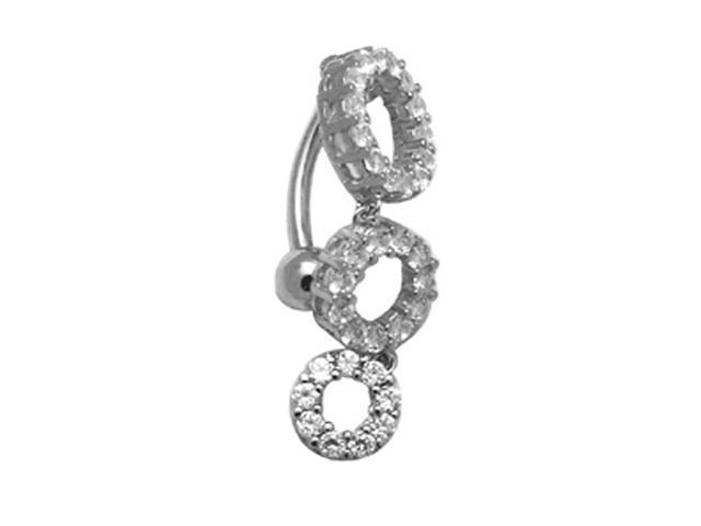 14k White Gold Triple Circles CZ 14g Belly Button Ring