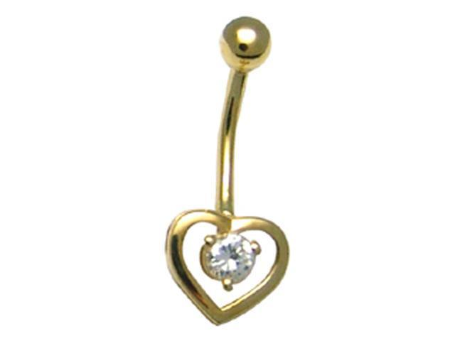 14k Yellow Gold Heart Solitaire CZ Belly Button Ring