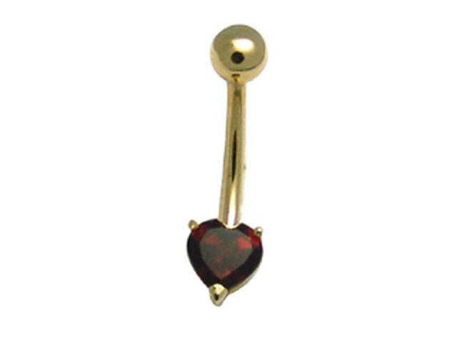 14k Yellow Gold Red CZ Heart Solitaire 14g Navel Ring