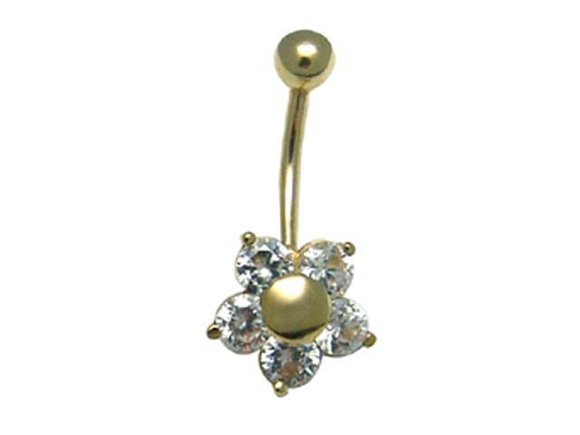 14k Yellow Gold Round White CZ Flower Belly Button Ring
