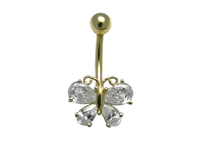 14k Yellow Gold Butterfly CZ Belly Button Navel Ring