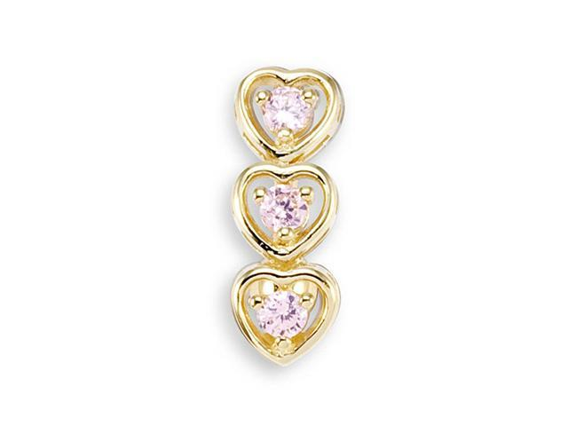 14k Yellow Gold Pink CZ Triple Hearts Belly Button Ring