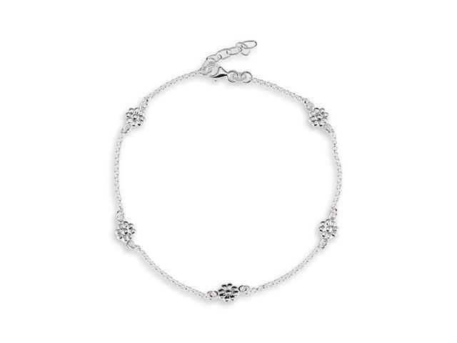Flowers Round Link 925 Sterling Silver Ankle Bracelet