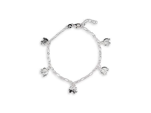 Elephant Charm Link 925 Sterling Silver Ankle Bracelet