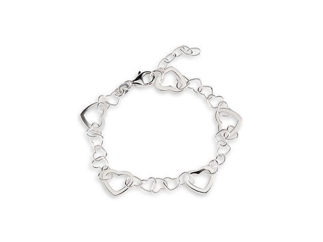 Solid Big Small Heart Links .925 Sterling Silver Anklet