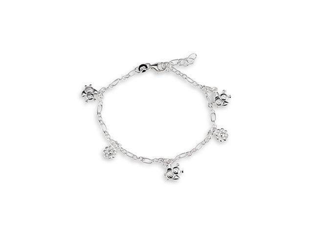 925 Sterling Silver Bee Flower Ankle Bracelet Anklet