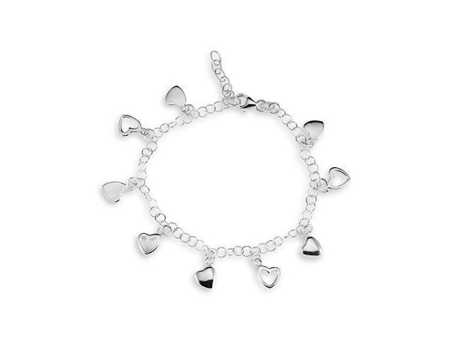 Heart Charms 925 Solid Sterling Silver Ankle Bracelet