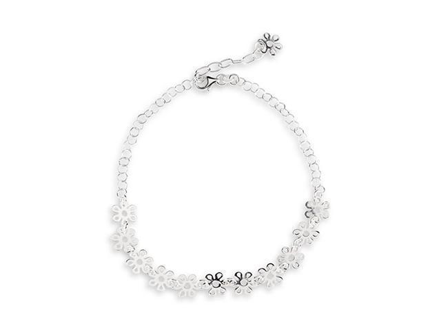 Floral Link Solid .925 Sterling Silver Ankle Bracelet