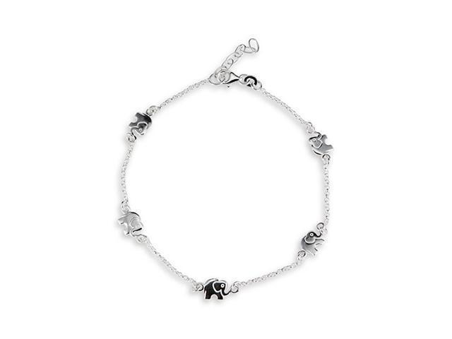 Elephant Link Solid .925 Sterling Silver Ankle Bracelet