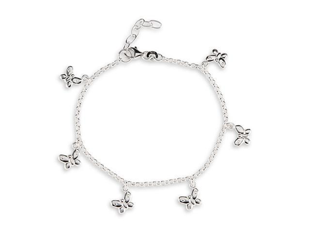 Butterfly Charms Link Solid .925 Sterling Silver Anklet