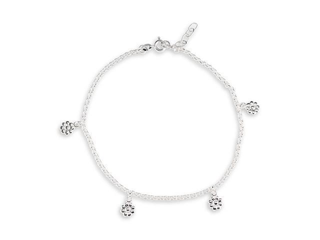 .925 Sterling Silver Flower Charm Ankle Bracelet Anklet