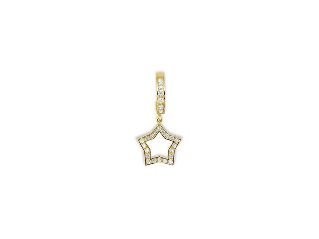 14k Yellow Gold CZ Dangle Star Hoop Belly Button Ring