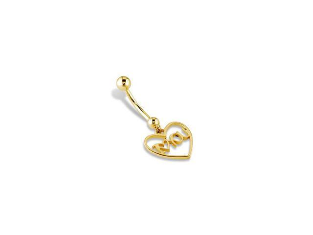 "14k Yellow Gold Heart ""I Love You"" Belly Button Ring"