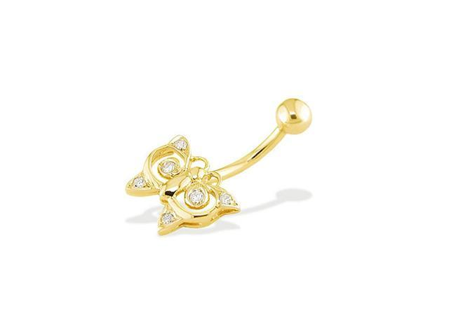 14k Yellow Gold Butterfly CZ Stone Designer Belly Ring