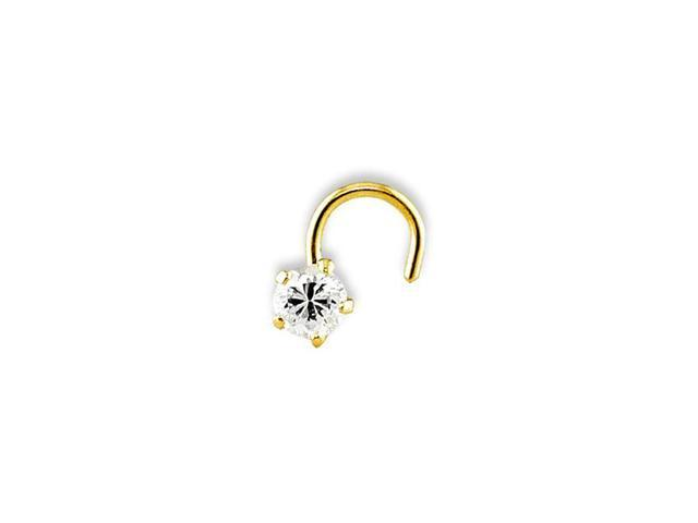 14k Yellow Gold Polished Clear CZ 20g Solid Nose Ring