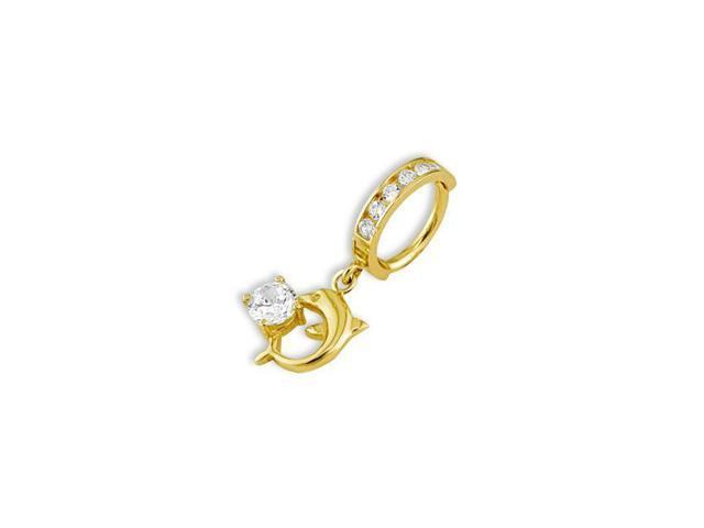 14k Yellow Gold White CZ Dolphin Dangle 14g Navel Ring
