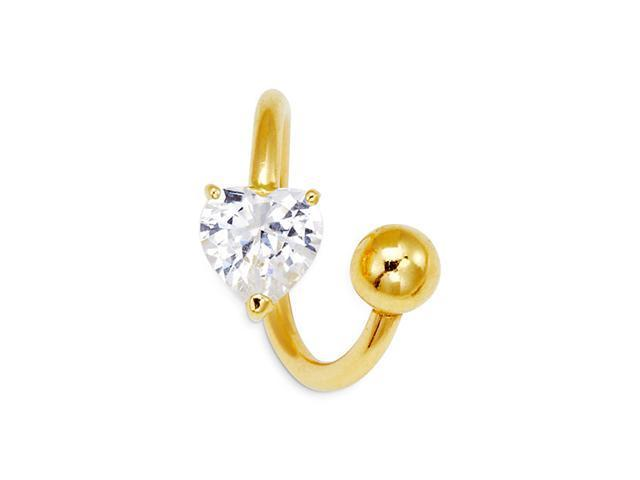 14k Yellow Gold Heart Solitaire 14g Navel Belly Ring