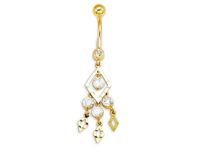 14k Yellow Gold Triangle CZ Dangle Charms Belly Ring