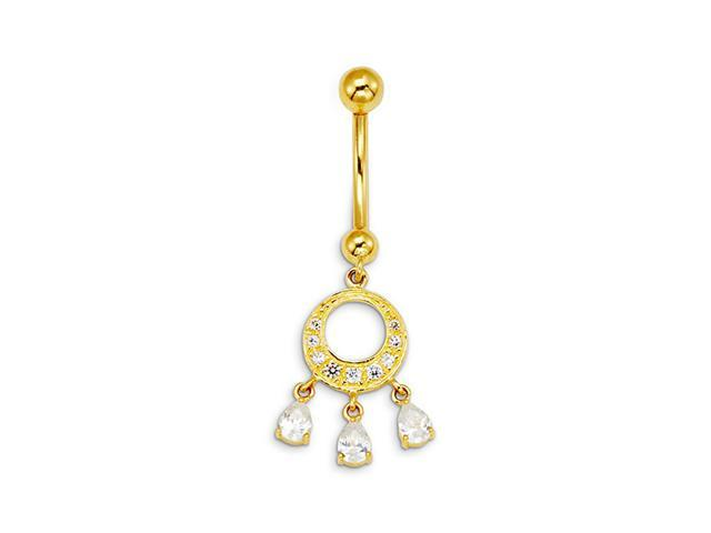 14k Yellow Gold Circle Dangle CZ Pear Charms Belly Ring