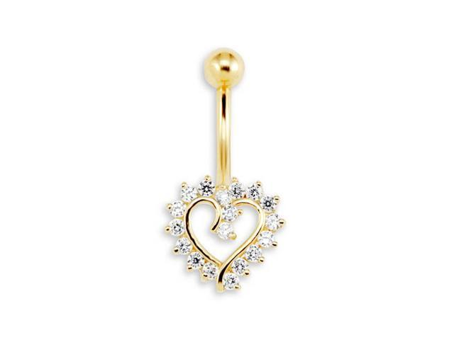 New 14g CZ Heart 14k Yellow Gold Belly Button Ring