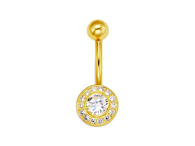 14k Yellow Gold Round Circle CZ 14g Belly Button Ring