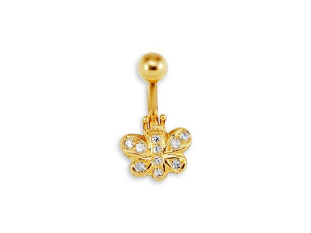 New 14k Yellow Gold Butterfly CZ 14g Belly Button Ring