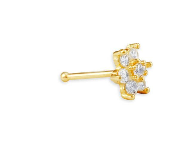 New 14k Yellow Gold White CZ 20 Gauge Flower Nose Ring