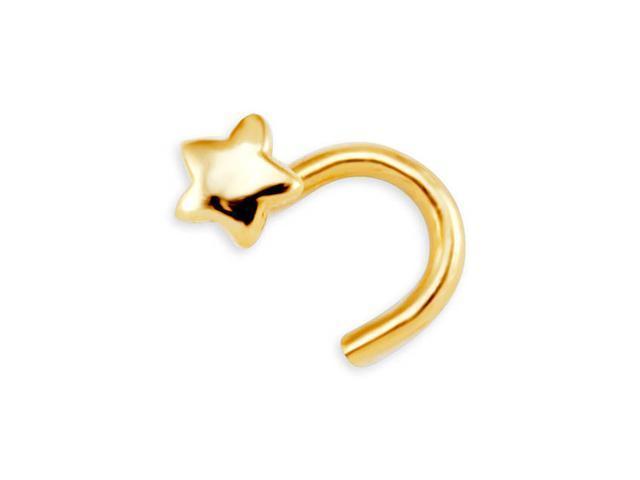 New 14k Yellow Gold 20 Gauge Star Nose Screw Stud Ring
