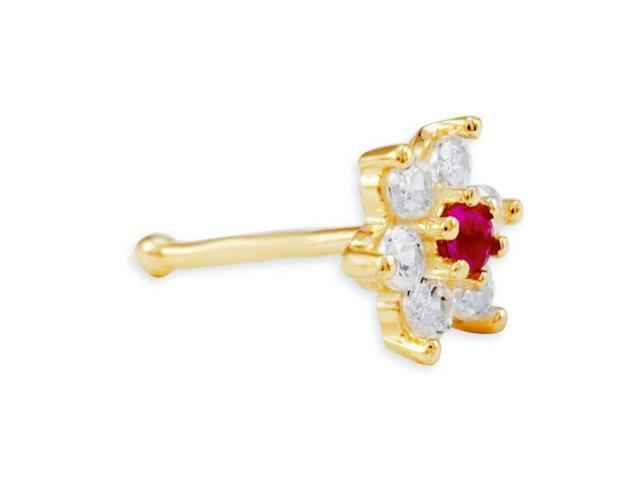 New 14K Yellow Gold 20g White Red CZ Flower Nose Ring